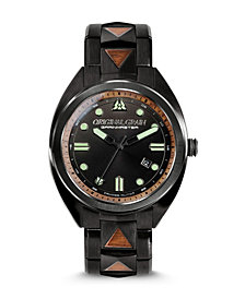 Original Grain Men's Grainmaster Burled Walnut with Black Stainless Steel Bracelet Watch 45mm