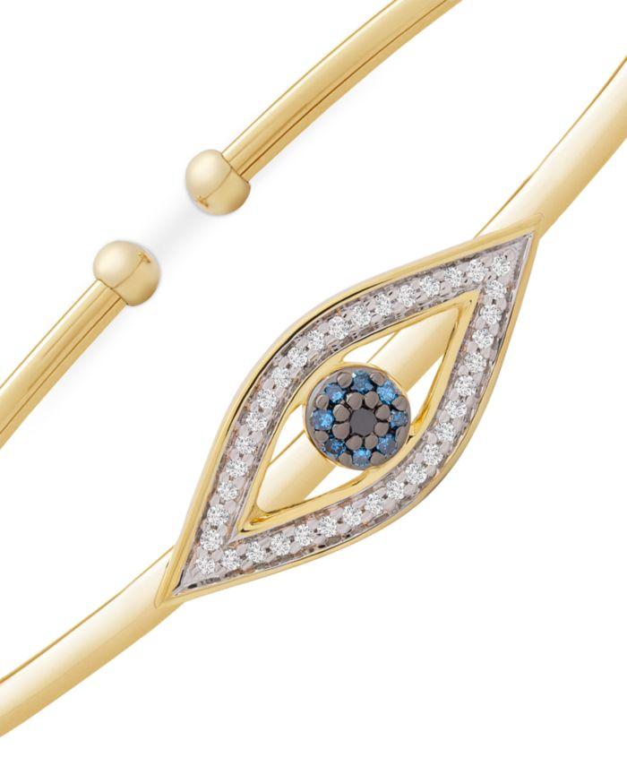 Wrapped Diamond Evil Eye Flexie Bangle Bracelet (1/6 ct. t.w.) in 14k Gold-Plated Sterling Silver & Reviews - Bracelets - Jewelry & Watches - Macy's