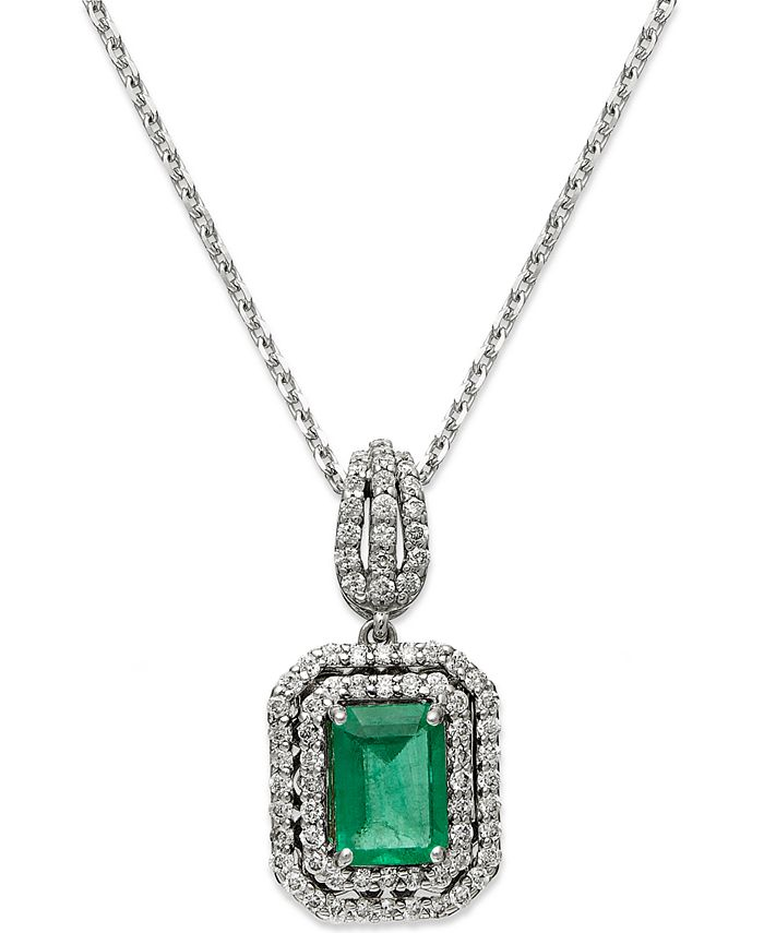 Macy's - 14k White Gold Necklace, Emerald (1 ct. t.w.) and Diamond (3/8 ct. t.w.) Two-Row Pendant