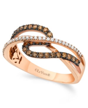 Chocolate by Petite Le Vian Chocolate and White Diamond (3/8 ct. t.w.) Ring in 14k Rose Gold