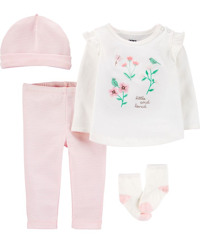 Carter's - Baby Girls 4-Pc. Flower Bouquet Cotton Take-Me-Home Set