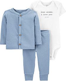 Carter's Baby Boys 3-Pc. Cotton Bodysuit, Cardigan & Pants Set