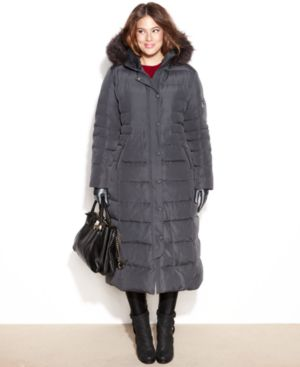 DKNY Plus Size Hooded Faux-Fur-Trim Maxi Down Coat