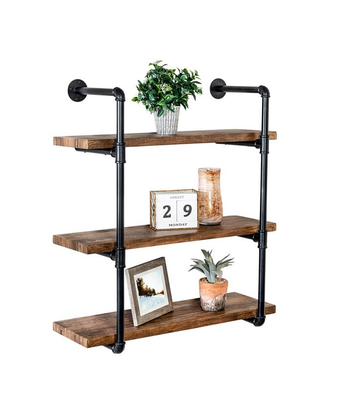 Honey Can Do - 3-Tier Black Industrial Wall Shelf