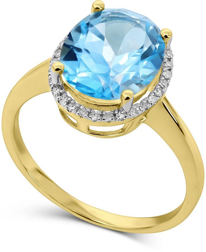 Macy's - Blue Topaz (3-3/4 ct. t.w.) & Diamond (1/8 ct. t.w.) Halo Ring in 14k Gold