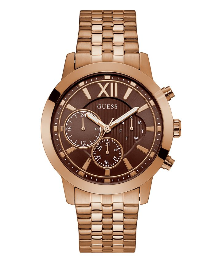 GUESS - Guess Rose Gold-Tone Brown Multifunction Bracelet Watch 45mm