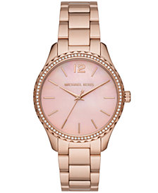Michael Kors Layton Three-Hand Rose Gold-Tone Stainless Steel Watch