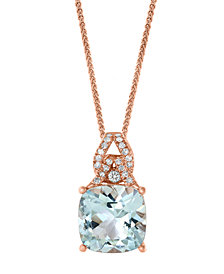 "LALI Jewels Aquamarine (3-1/2 ct. t.w.) & Diamond (1/8 ct. t.w.) 18"" Pendant Necklace in 14k Rose Gold"