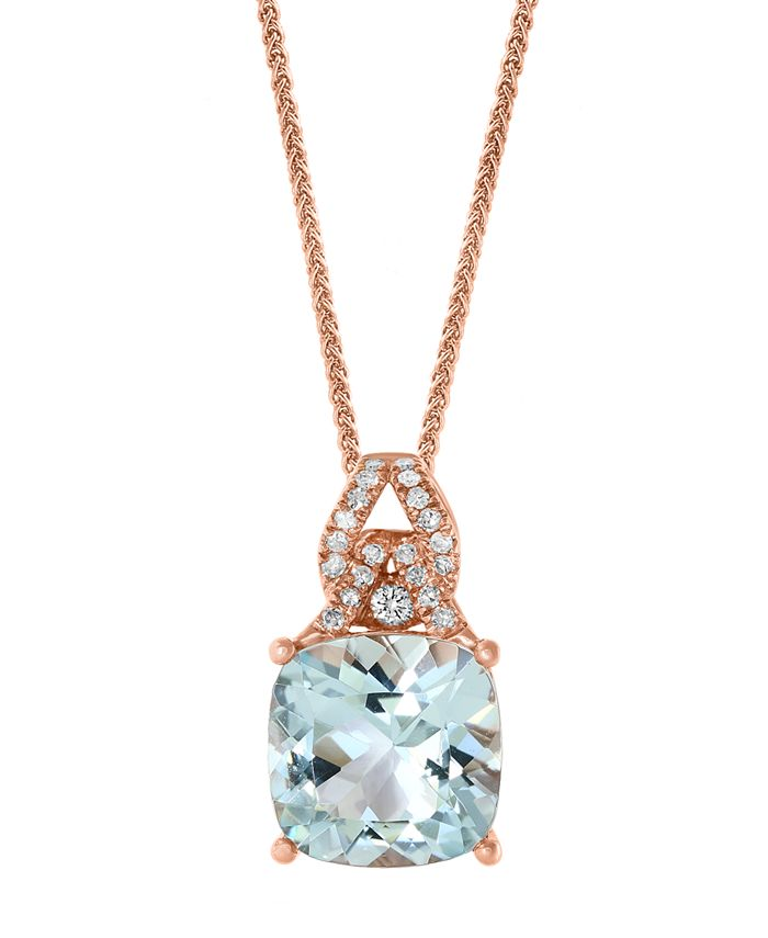 "LALI Jewels - Aquamarine (3-1/2 ct. t.w.) & Diamond (1/8 ct. t.w.) 18"" Pendant Necklace in 14k Rose Gold"