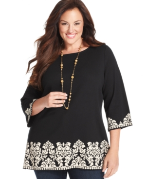 Charter Club Plus Size Three-Quarter-Sleeve Border-Print Tunic Top