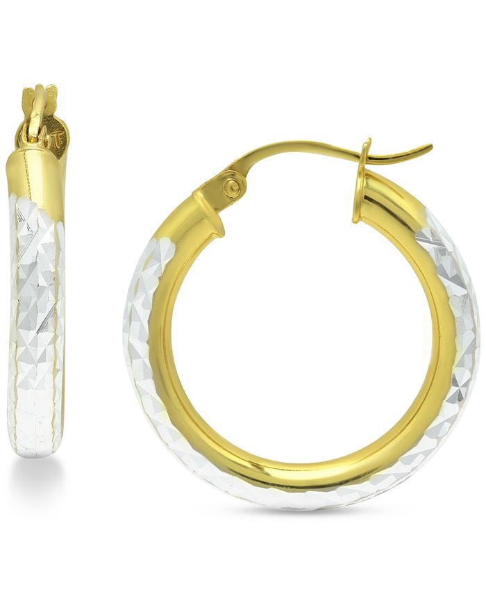 """Giani Bernini - Small Two-Tone Textured Hoop Earrings in Sterling Silver & 18k Gold-Plate, 3/4"""""""