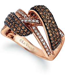 Le Vian Chocolatier® Chocolate Diamond (1 ct. t.w.) & Vanilla Diamond (1/5 ct. t.w.) Crossover Ring in 14k Rose Gold