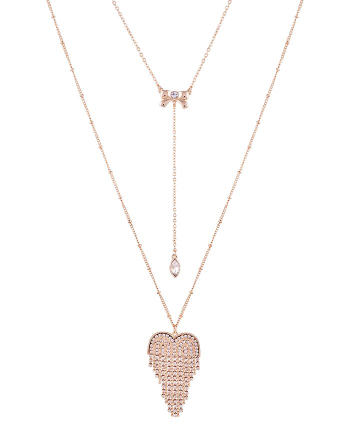 """GUESS - Gold-Tone Crystal Double-Layer Pendant Necklace, 32"""" + 2"""" extender"""