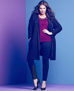 Alfani Plus Size Sweater, Long-Sleeve Faux-Leather-Trim Coat