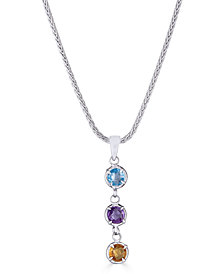 """Multi-Gemstone Dangle 18"""" Pendant Necklace (3/4 ct. t.w.) in Sterling Silver, 17-1/2"""" + 3"""" extender"""