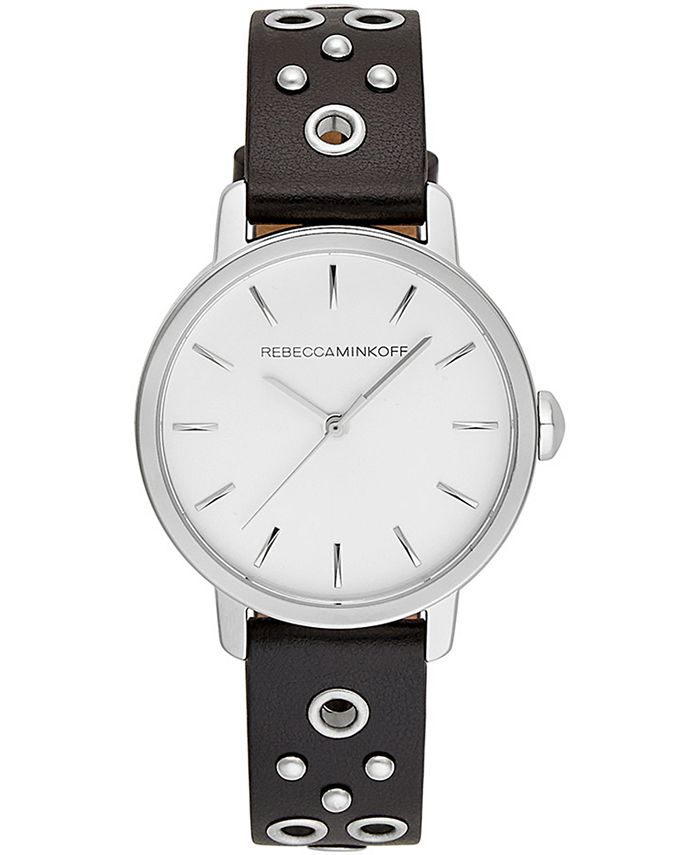 Rebecca Minkoff - Women's BFFL Silver-Tone Stud & Black Leather Strap Watch 35mm