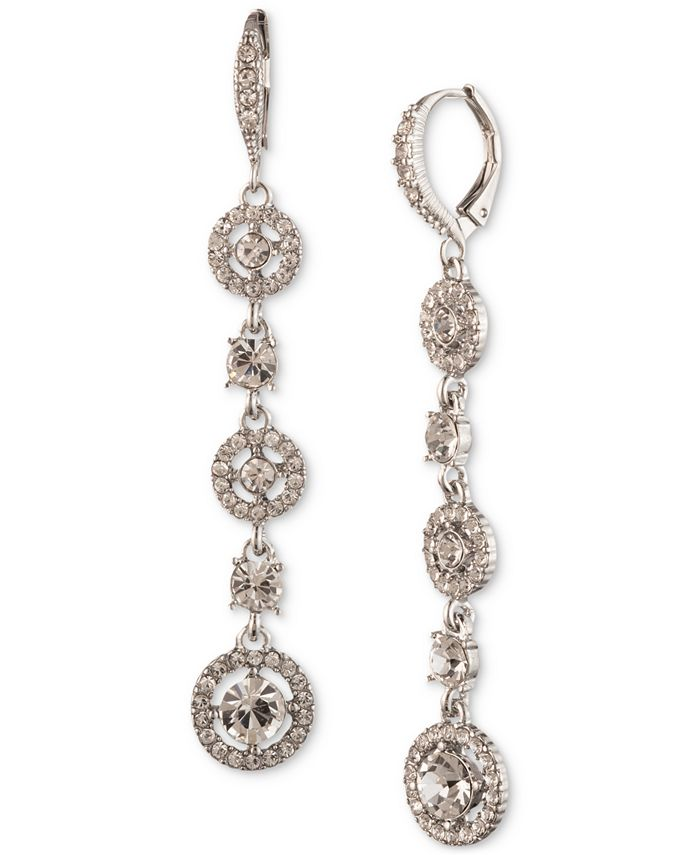 Givenchy - Silver-Tone Crystal Linear Drop Earrings
