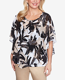 Alfred Dunner Plus Size Brushstroke Leaves Flutter Woven Top with Detachable Necklace