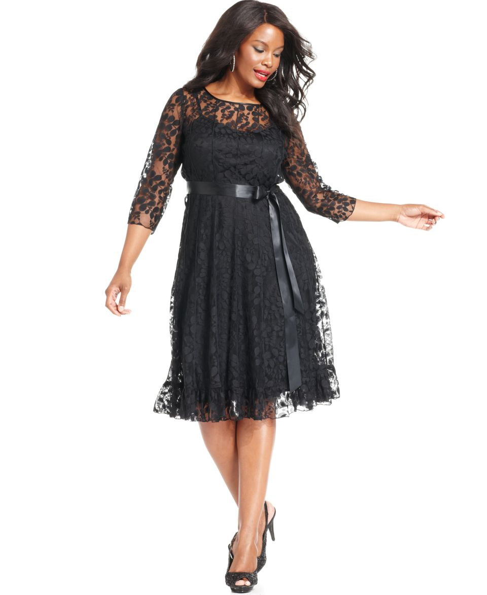 Jessica Howard Plus Size Three Quarter Sleeve Belted Lace Dress   Dresses   Plus Sizes