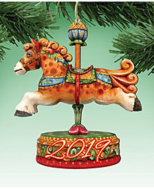 Designocracy Carousel Horse Wooden Ornaments, Set of 2