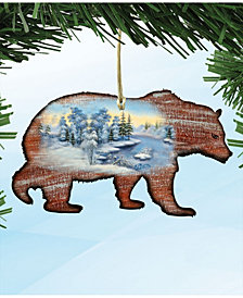 Designocracy Grizzly Wooden Christmas Ornament Set of 2