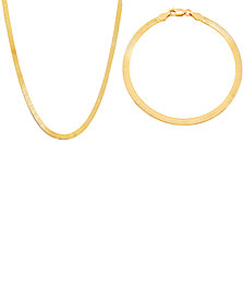 """Giani Bernini 2-Pc. Set Herringbone Link 20"""" Chain Necklace & Matching Chain Bracelet in Sterling Silver or 18k Gold-plated Sterling Silver"""