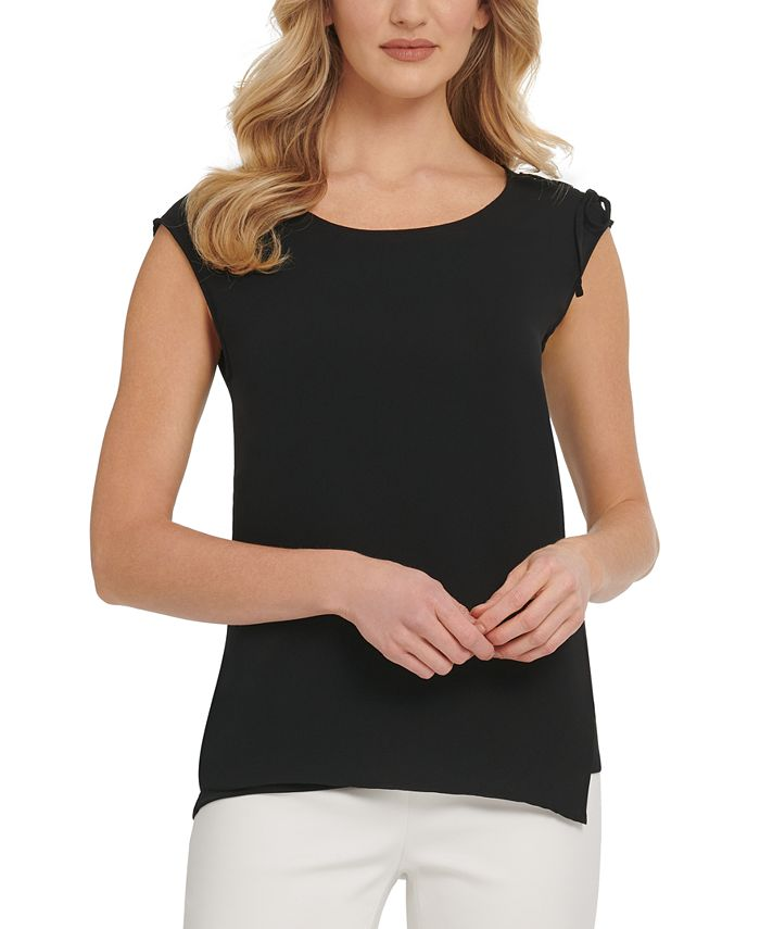 DKNY - Chiffon-Trim Sleeveless Top
