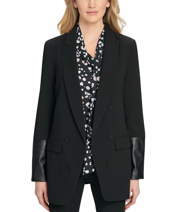 DKNY - Faux-Leather-Trim Blazer