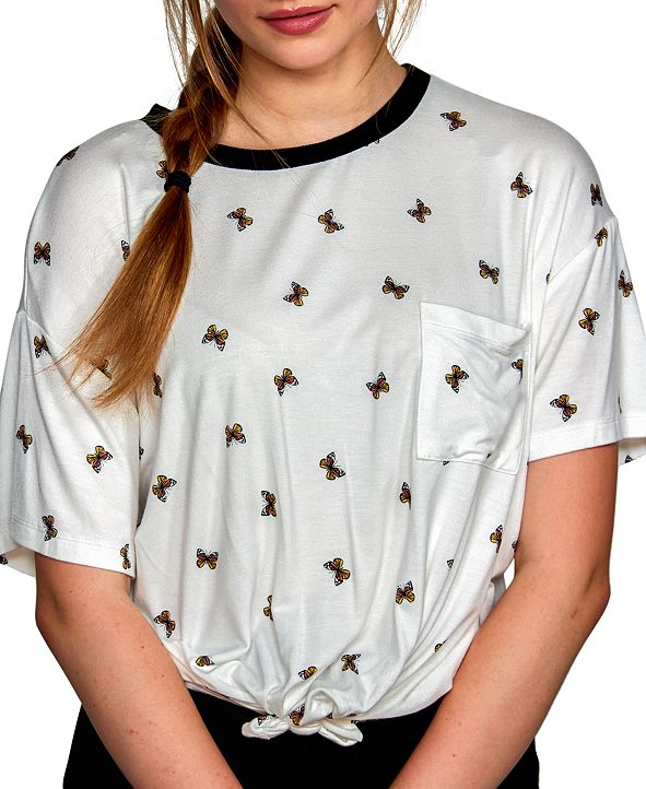 Self Esteem Juniors' Butterfly-Print Tie-Hem Ringer Top