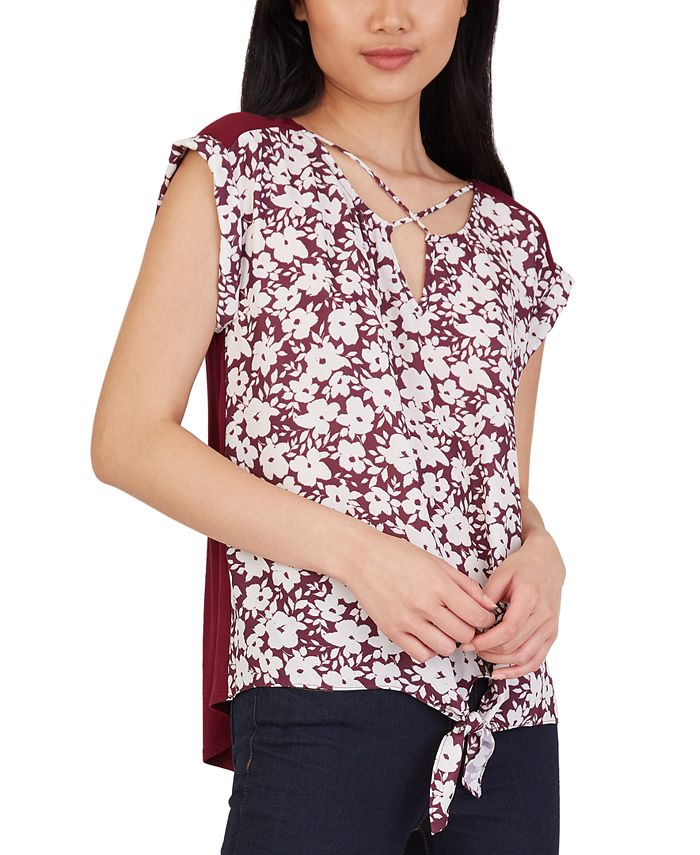BCX - Juniors' Floral-Print Criss-Cross Tie-Hem Top