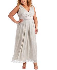 R & M Richards Plus Size Metallic Gown