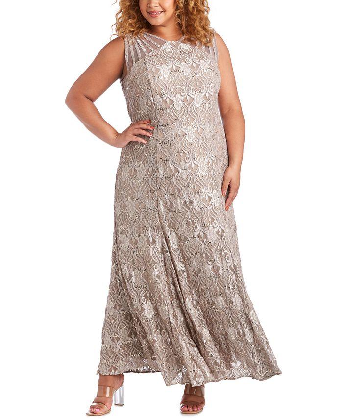 R & M Richards - Plus Size Sequin Lace Gown