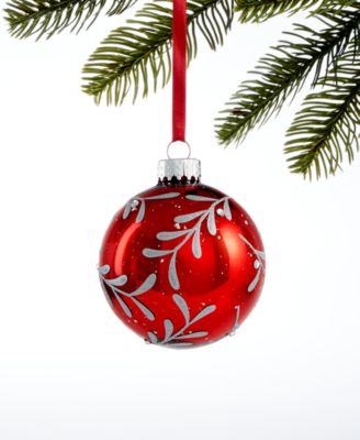 Chalet You Stay,  Glass Red Silver Leaf Ornament, Created for Macy's