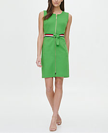 Tommy Hilfiger Piqué Zip-Front Belted Dress