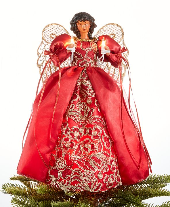 Holiday Lane Light Up African American Red/Gold Angel Tree Topper, Created for Macy's
