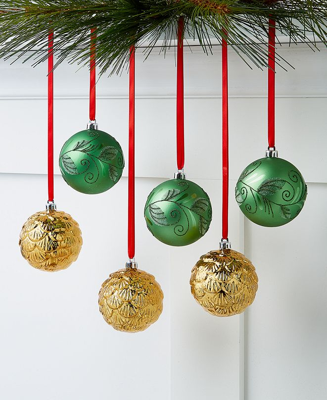 Holiday Lane Birds & Boughs, Green & Gold Shatterproof Ornaments, Set of 6, Created For Macy's