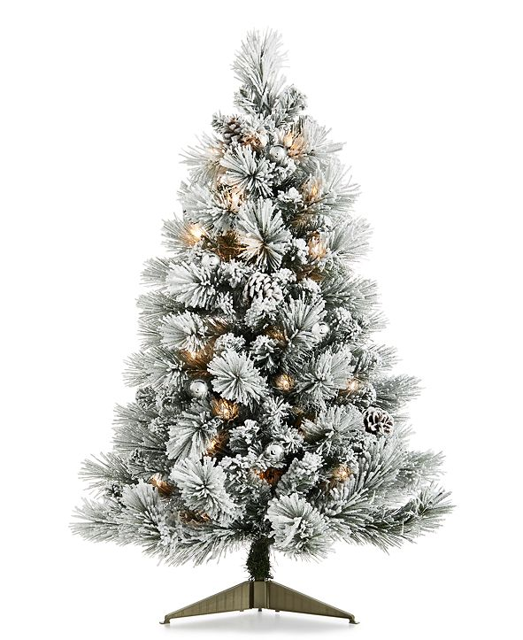"Holiday Lane Chalet You Stay, Pre-lit Flocked 36"" Tree with Pinecones & Ornaments, Created For Macy's"