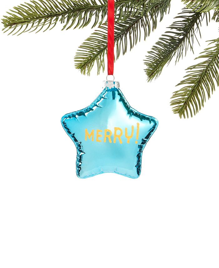Holiday Lane - Merry & Brightest Molded Glass Star Balloon Ornament
