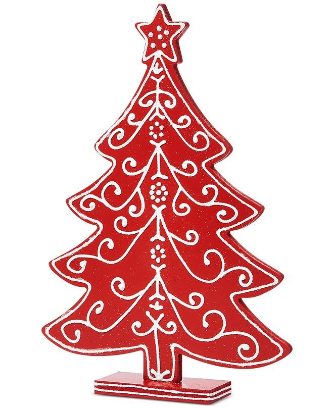 Martha Stewart Collection Farmhouse Red & White Decorated Tabletop Tree, Created for Macy's