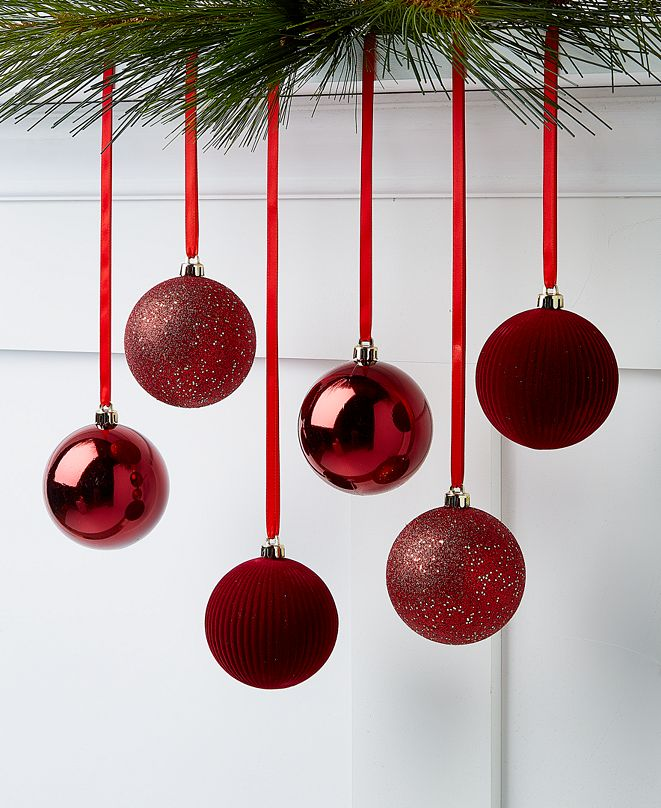 Holiday Lane Evergreen Dreams Burgandy Shatterproof Ornaments, Set of 6, Created for Macy's