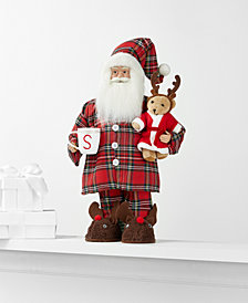 Holiday Lane Standing Pajama Santa with Bear and Mug, Created for Macy's