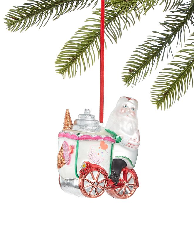 Holiday Lane Sweet Tooth Santa with Ice Cream Cart Ornament, Created for Macy's