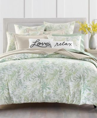 Printed Leaves 300-Thread Count Twin Comforter Set, Created for Macy's