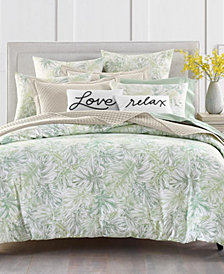 Charter Club Damask Designs Printed Leaves 300-Thread Count Bedding Collection, Created for Macy's