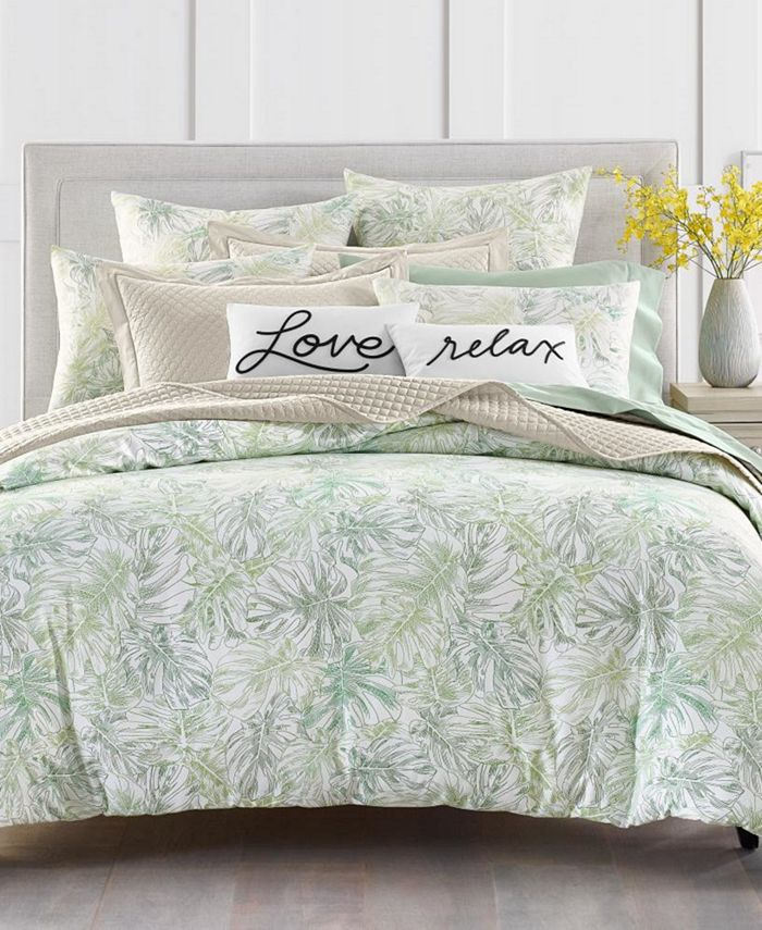Charter Club - Damask Designs Printed Leaves 300-Thread Count Bedding Collection, Created for Macy's