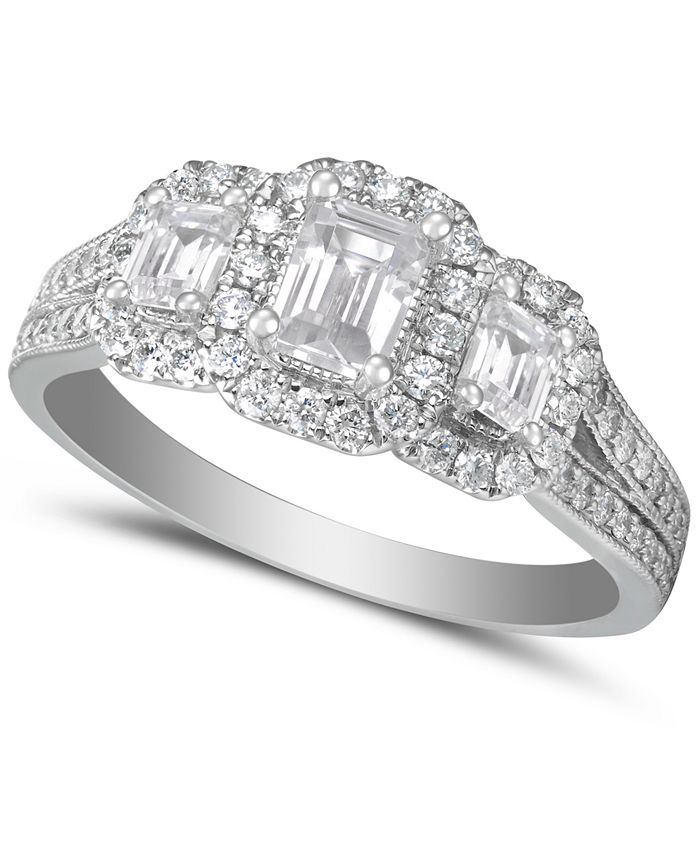 Macy's - Diamond Emerald-Cut Halo Engagement Ring (1-1/2 ct. t.w.) in 14k White Gold
