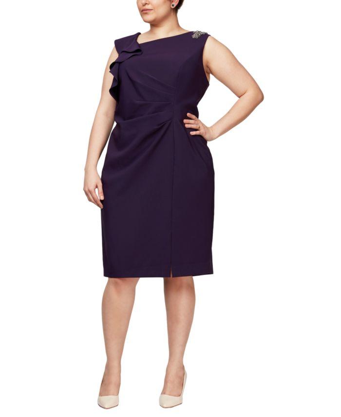 SL Fashions Plus Size Embellished Ruffle Dress & Reviews - Dresses - Plus Sizes - Macy's