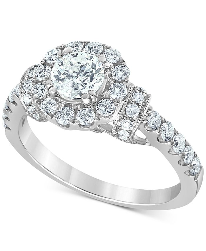 Macy's - Diamond (1-3/8 ct. t.w.) Halo Engagement Ring in 14k White Gold