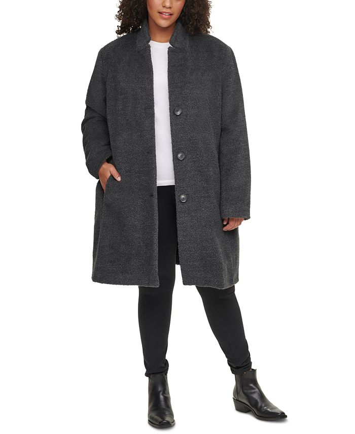 DKNY - Plus Size Single-Breasted Walker Coat