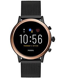 Fossil Tech Gen 5 Julianna HR Black Leather Smart Watch 44mm, Powered by Wear OS by Google